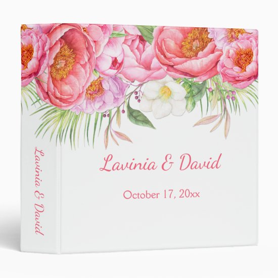 Pink Peonies Watercolor Florals Wedding Album Binder