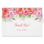 Pink Peonies Watercolor Florals Wedding Thank You Card