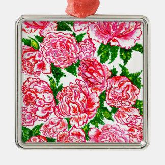 Pink Peonies Watercolor Metal Ornament