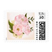 Pink Peonies Watercolor Painting Wedding Stamps