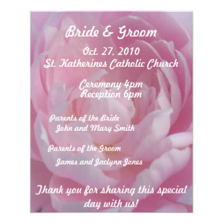 Pink Peonies Wedding Program Flyer