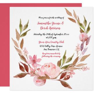 Pink Peonies, Wildflowers, Greenery Wreath Wedding Card