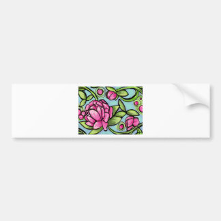 pink peonies with greenery car bumper sticker