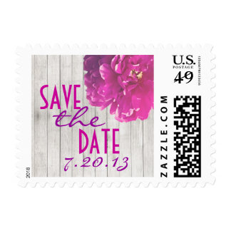 Pink Peony Aged Wood Save the Date Postage Stamp
