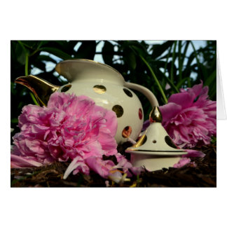 Pink Peony and Teapot Note Card