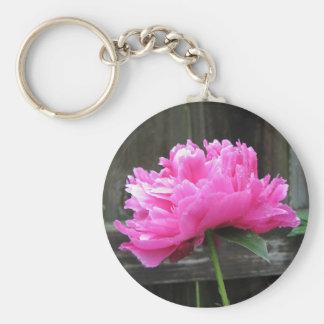 Pink Peony Bloom Key Chains