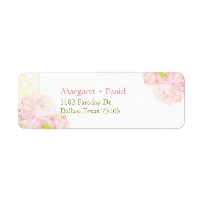 Pink Peony Blooms Botanical Wedding Label