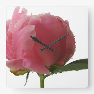 Pink Peony Blossom Square Wall Clock