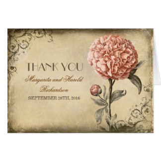 pink peony blossom vintage wedding thank you cards