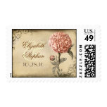 pink peony blossoms vintage wedding postage stamps