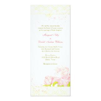 Pink Peony Bouquet n Swirls Wedding Card