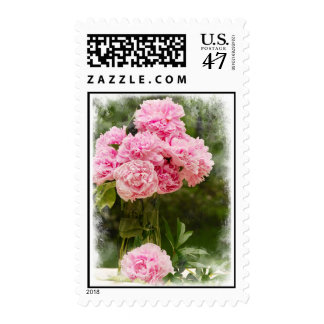 Pink Peony Bouquet with Soft Edge Postage