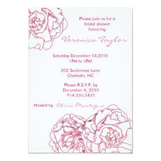 "Pink Peony Bridal Shower Invitation 5"" X 7"" Invitation Card"