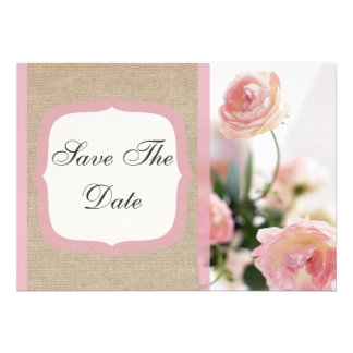 Pink Peony Burlap Save The Date Announcement