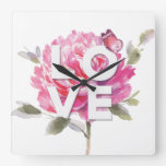 Pink Peony Butterfly Watercolor Love Script  Square Wall Clock