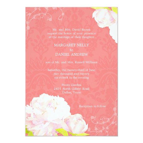 Pink Peony Coral Reef Color Wedding Invitation