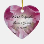 Pink Peony Engagement Heart Ornament