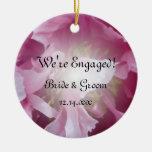 Pink Peony Engagement Photo Ornament