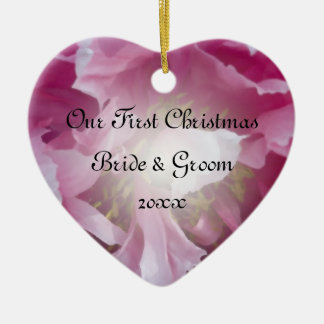 Pink Peony First Christmas Together Ceramic Ornament