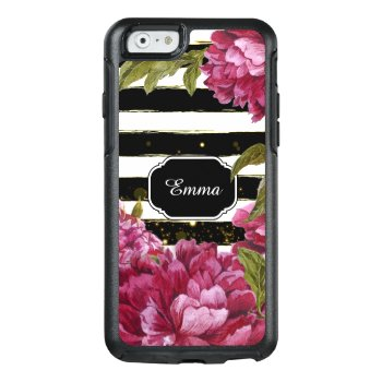 Pink Peony Floral Black White Stripe Otterbox Iphone 6/6s Case by iPadGear at Zazzle