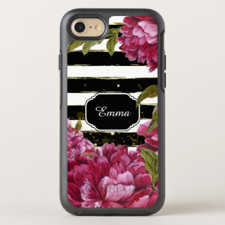 Pink Peony Floral Black White Stripe OtterBox Symmetry iPhone 8/7 Case
