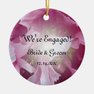 Pink Peony Floral Engagement Photo Ceramic Ornament