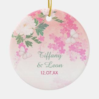 Pink Peony Floral Garden Ceramic Ornament