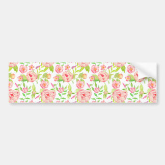 Pink peony floral pattern bumper sticker