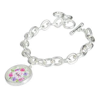Pink Peony Floral Watercolor Monogram Charm Bracelet