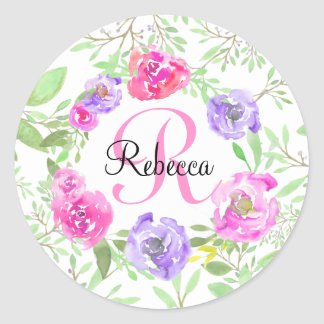 Pink Peony Floral Watercolor Monogram Classic Round Sticker