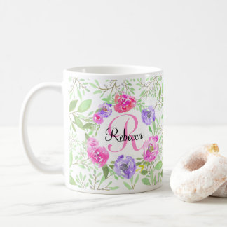 Pink Peony Floral Watercolor Monogram Coffee Mug