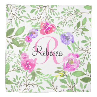 Pink Peony Floral Watercolor Monogram Duvet Cover