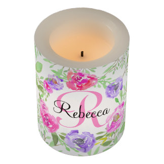 Pink Peony Floral Watercolor Monogram Flameless Candle