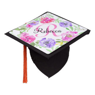 Pink Peony Floral Watercolor Monogram Graduation Cap Topper