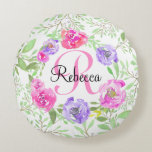 Pink Peony Floral Watercolor Monogram Round Pillow
