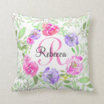 Pink Peony Floral Watercolor Monogram Throw Pillow