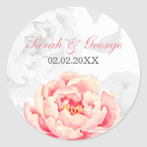 Pink Peony Floral Wedding Classic Round Sticker