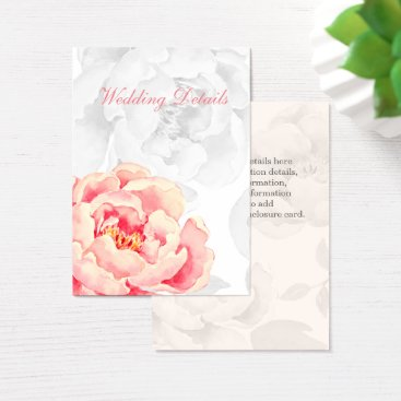 Pink Peony Floral wedding details Business Card