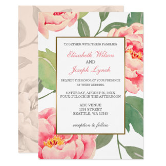 Pink Peony Floral wedding invitations