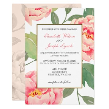 Pink Peony Floral wedding invitations