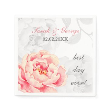 PINK PEONY FLORAL WEDDING NAPKIN