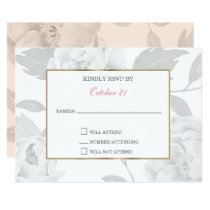 Pink Peony Floral wedding RSVP cards