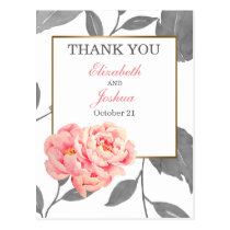 PINK PEONY FLORAL WEDDING Thank You Postcard