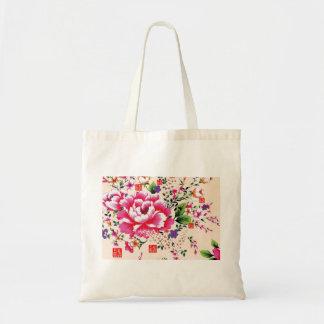 Pink peony flower arrangement cotton bag