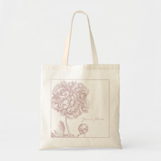 Pink Peony Flower Botanical Tote Bag