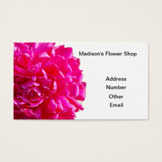 Pink peony flower business card