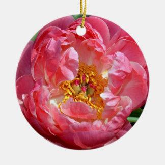 Pink peony flower christmas ornament