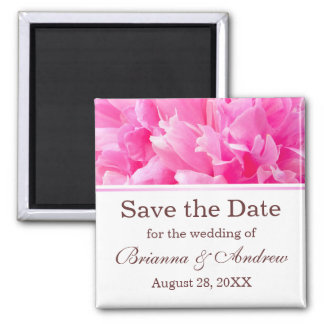 Pink peony flower floral Save the Date magnet