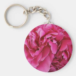 Pink Peony Flower Keychain