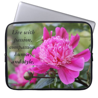 Pink Peony Flower Live with.... Laptop Sleeve